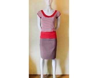 Checkered vintage skirt, girl's skirt, vintage skirt, plaid skirt, woman's pencil skirt, light skirt, pencil skirt, skirt, retro skirt 70