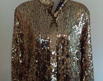 Vintage Stenay Gold Sequined Jacket.  Size –Medium to Large.