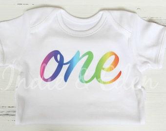 Rainbow Girls Baby One 1st Birthday Vest Baby Grow Babygrow Cake Smash Photo Prop
