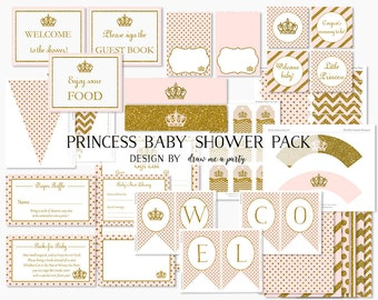 PRINCESS BABY SHOWER Decorations Printable , Pink and Gold Baby Shower Package , Princess Cupcake Toppers , Wrappers . Sign , Tags and More