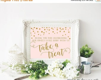 ON SALE Pink And Gold Baby Shower , Dessert Table Sign , Please Take A Treat Sign , Printable , Instant Download