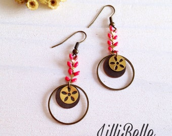 Earrings Bohemia coral color - Bohemian, hippie jewelry, vintage - gift idea