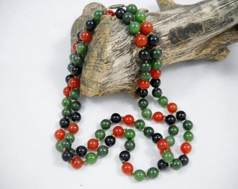 """Jade/Carnelian/Onyx Necklace 32"""" Opera Length Hand Knotted Beads with Sterling Box Clasp Classic/Contemporary"""