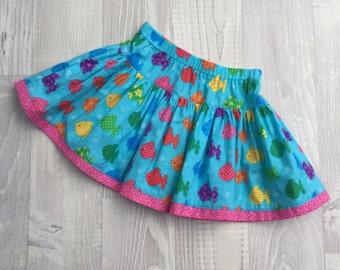 Girls Twirly Skirt with Rainbow Fish