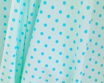Knit Aqua with Aqua Dots Fabric 1/2 yard