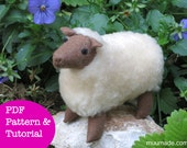 Sheep Sewing Pattern, Stuffed Animal Sewing Pattern, Felt animal pattern, Farm animal, Handmade gift, Toy, Children, PDF DIY tutorial, Decor