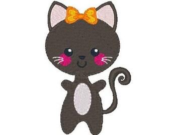 Kawaii Cat Embroidery Design, Kitten Machine Embroidery Design No: JG00025-5