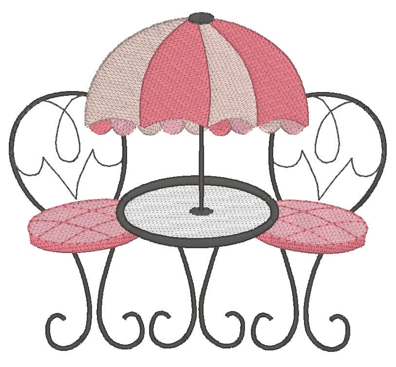 French Cafe Setting Machine Embroidery Design, Al Fresco ...