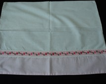 French Vintage babies pink and white cotton pillowcase (01877)