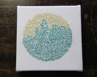 abstract embroidery art on canvas, modern art, small art, green hand embroidery, home decor