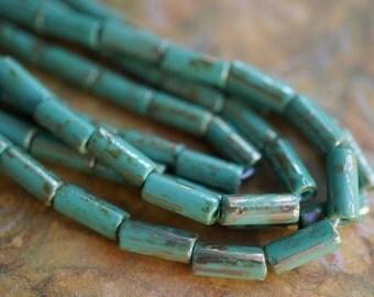 Metallic Turquoise, Tube Beads, Czech Beads