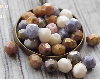 LAST ONES.. Pastel Beads, Czech Beads, Jewelry Supplies