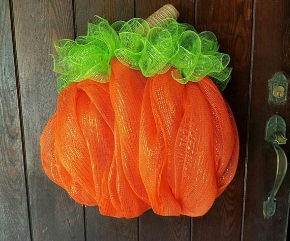 Pumpkin Mesh Door Hanger
