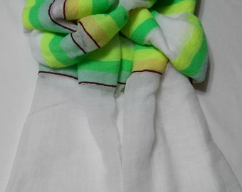 Women's 100% Handwoven Ethiopian Sheer Snow White Cotton w/ Contrasting Green Striped Combinations