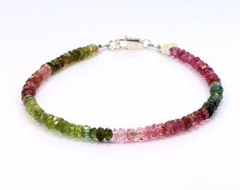 Tourmaline bracelet; Delicate bracelet; 8th anniversary;  green; pink; blue; Stacking bracelet; Layering bracelet, Bridesmaid; Flowergirl