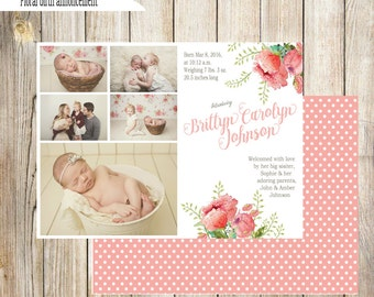 Floral Birth Announcement- girl