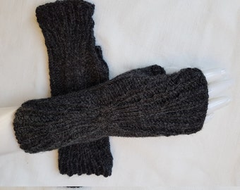 blackwristlets, black fingerless mittens, black gloves  hand knitted,  gift for her, gift for Christmas