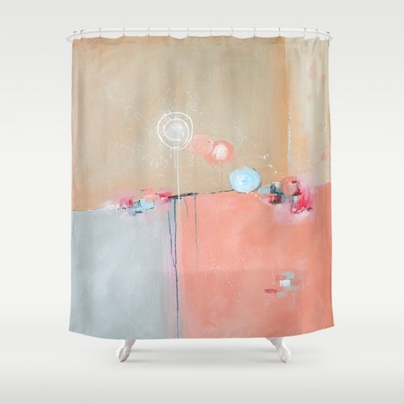Pink shower curtain pink and blue shower by designbyjuliabars for Pink and blue bathroom ideas
