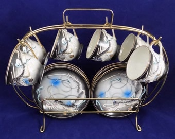 Moriage Dragonware Demitasse Cup and Saucer Set with Gold Wire Rack, 6 Cups and Saucers with Rack