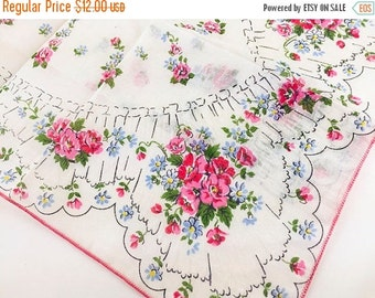 SALE Vintage Handkerchief Pink Handkerchief Flower Handkerchief Floral 1950 Mid Century Retro Accessory Ladies Women Hankie