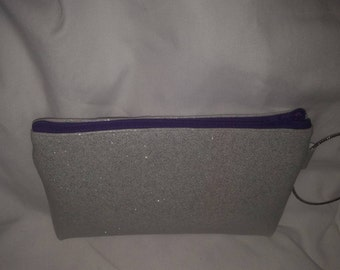 Wristlet purse: Sparkle vinyl with bracelet for handle fully lined with small pocket