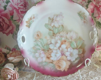 Bavarian Porcelain Hand Painted Roses, Florals Decorative Plate