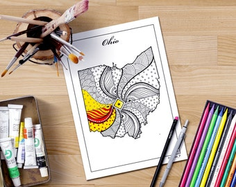 Ohio State Map Printable Coloring Pages For Adults Instant Download Zentangle Inspired Henna Doodle