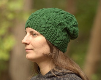 Green knit hat Womens knitted hat Wool winter hat Slouchy green hat Green leaves hat Knitted beanie hat