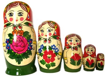Nesting Dolls traditional green with rose russian matryoshka doll - kod48p
