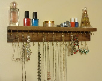JEWELRY ORGANIZER - Jewelry Display - Necklace Holder - Attached Shelf - 12 Different Stained Finishes - 35 Hooks - Hangers Installed