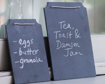 Natural Slate Chalkboard Memo Boards with Hanging Loop and Pack of Chalk Included