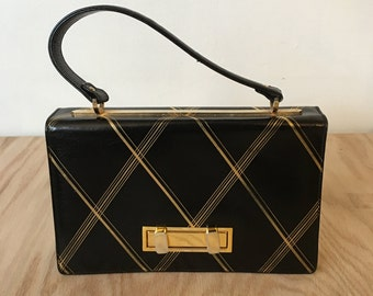 Vintage Black Leather KELLY BAG, 50s, Italian, Leather School of Florence 24K gold embossed