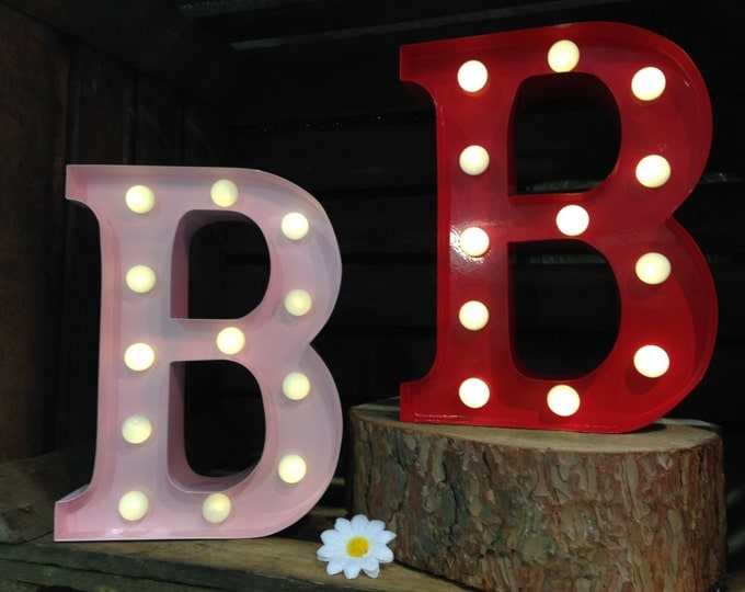 Vintage Metal Fairground Marquee Light up Letter B Light - Various Colours/Battery Operated - Perfect Night Light/Gift/Bedroom/Wedding Decor