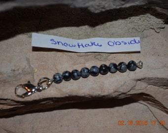 Natural Snowflake Obisdian Charm/ Zipper Pull