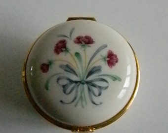 LENOX Cream Purple Flower Blue Bow Trinket Ring Box with Attached Lid