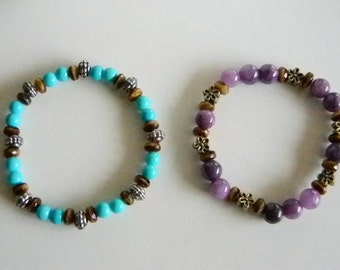 Teal Purple Brown Beaded Stretchy Bracelet