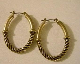 Muted Gold Tone Rope Design Hoop Pierced Earrings