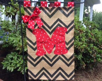 Chevron Burlap Monogram Appliqued Personalized Customized Small Garden Flag  Door Hanger