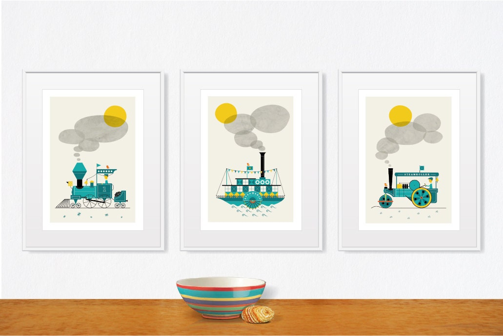 Sophisticated Modern Nautical Nursery: Mid Century Modern Illustration Baby Boy Nursery Nautical Art