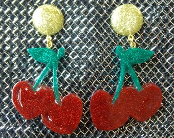 Cherry bomb glitter earrings