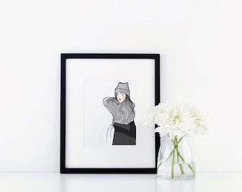 Beanie - Fashion Illustration Print 8.5 x 11 inches