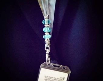 Custom beaded lanyard, paracord id pass card badge whistle lanyard, gift