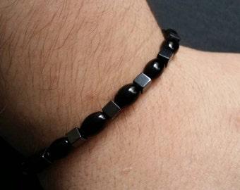 Hematite and black onyx bracelet