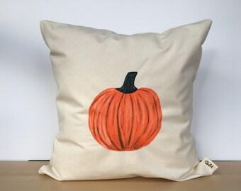 Pumpkin pillow, pumpkin pillow cover, custom pillow, throw pillow, Fall pillow, Autumn decor, hand painted pillow, housewarming gift