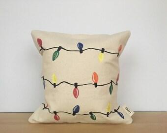 Christmas pillow, Christmas pillow cover, Christmas decor, holiday pillow, custom pillow, hand painted pillow, housewarming gift