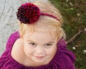 Autumn Party pom pom headband, pompom hair clip, fall colors