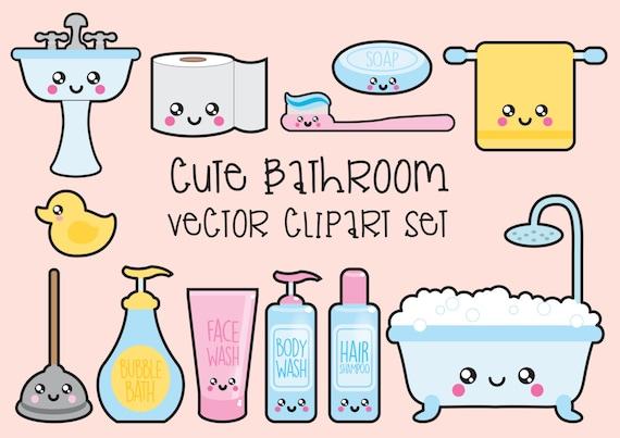 Bathroom Clipart Set Premium Vector Clipart Kawaii Bathroom Clipart Kawaii