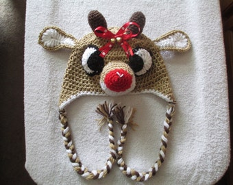 RUDOLPH REINDEER Hat--With or Without Ribbons-- Winter hats--Holiday--All Sizes Available