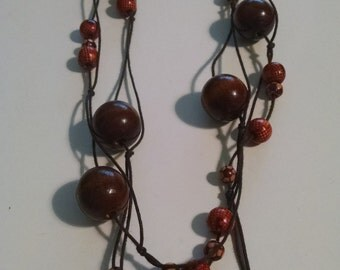 """Vintage 72"""" Beaded Necklace, Wood Beads, Flapper Necklace, Gift Under 25.00, Accessories, Extra Long Necklace, Jewelry, Necklaces,Unique Her"""