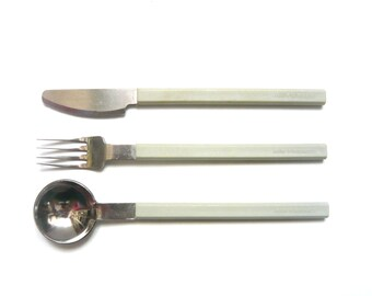 Vintage CONCORDE gray cutlery set, AIR FRANCE, Designed by Raymond Loewy, Metal and plastic flatware, Airline company, 1970s